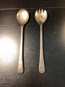 Vintage-Sheffield-England-Silver-Plates-Serving-Set-9-1-2-034-Salad-Fork-amp-Spoon