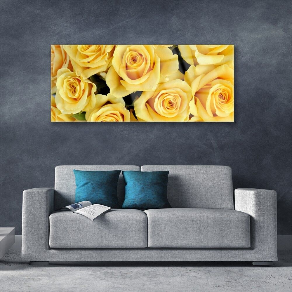 Print on 125x50 Glass Wall art 125x50 on Picture Image Roses Floral f3ed86