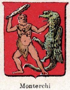 Monterchi-Piccolo-Stemma-del-1901-Cromolitografia-Stampa-Antica-Passepartout