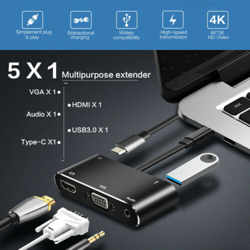 5 in 1 USB C to 4K HDMI+VGA+USB 3.0+Audio+PD Charging Adapter Converter Hub