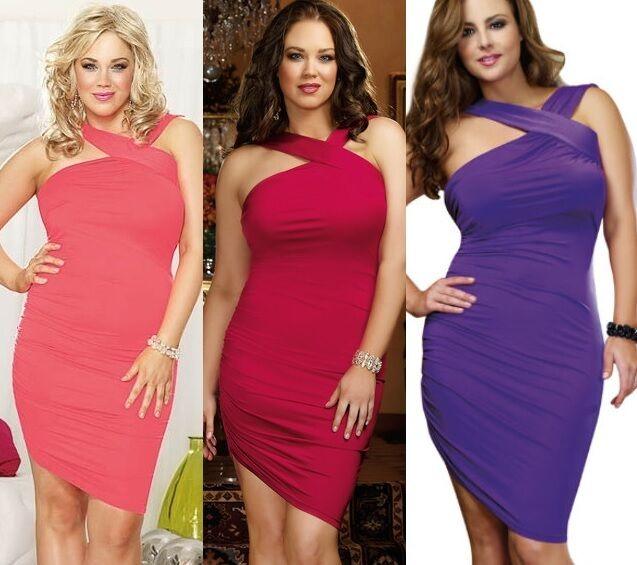Plus Size Coral red Purple asymmetrical hem Club Wear Dress 1X 2X 3X 4X D9106