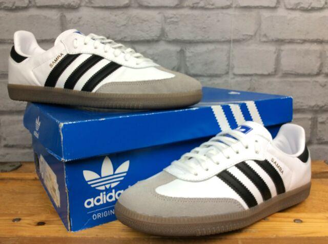 Adidas OG Herren UK 5 12 EU 38 23 Samba OG Weiß Leder Gummi Sohle Turnschuhe EP