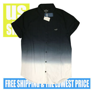 Hollister-Men-039-s-NWT-Epic-FLEX-Stretch-Fade-Black-to-White-SH-SLV-Shirt-LARGE
