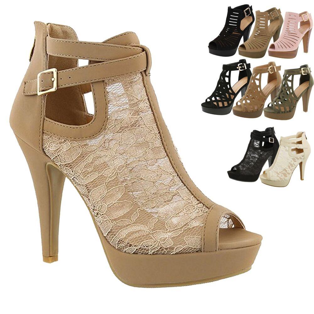 Actif Neuf Femme Spartiates à Lanières Épais Plateforme Talon Haut Sandales Robe Shoes Texture Nette