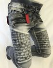 Mens Jean VICTORIOUS Straight Leg DESTROYED ICE BLACK WEAVED ZIPPERS PATCH 1042