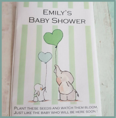 Blue Green Yellow Mixed Pink Personalised Baby Shower Seed Packet Favours