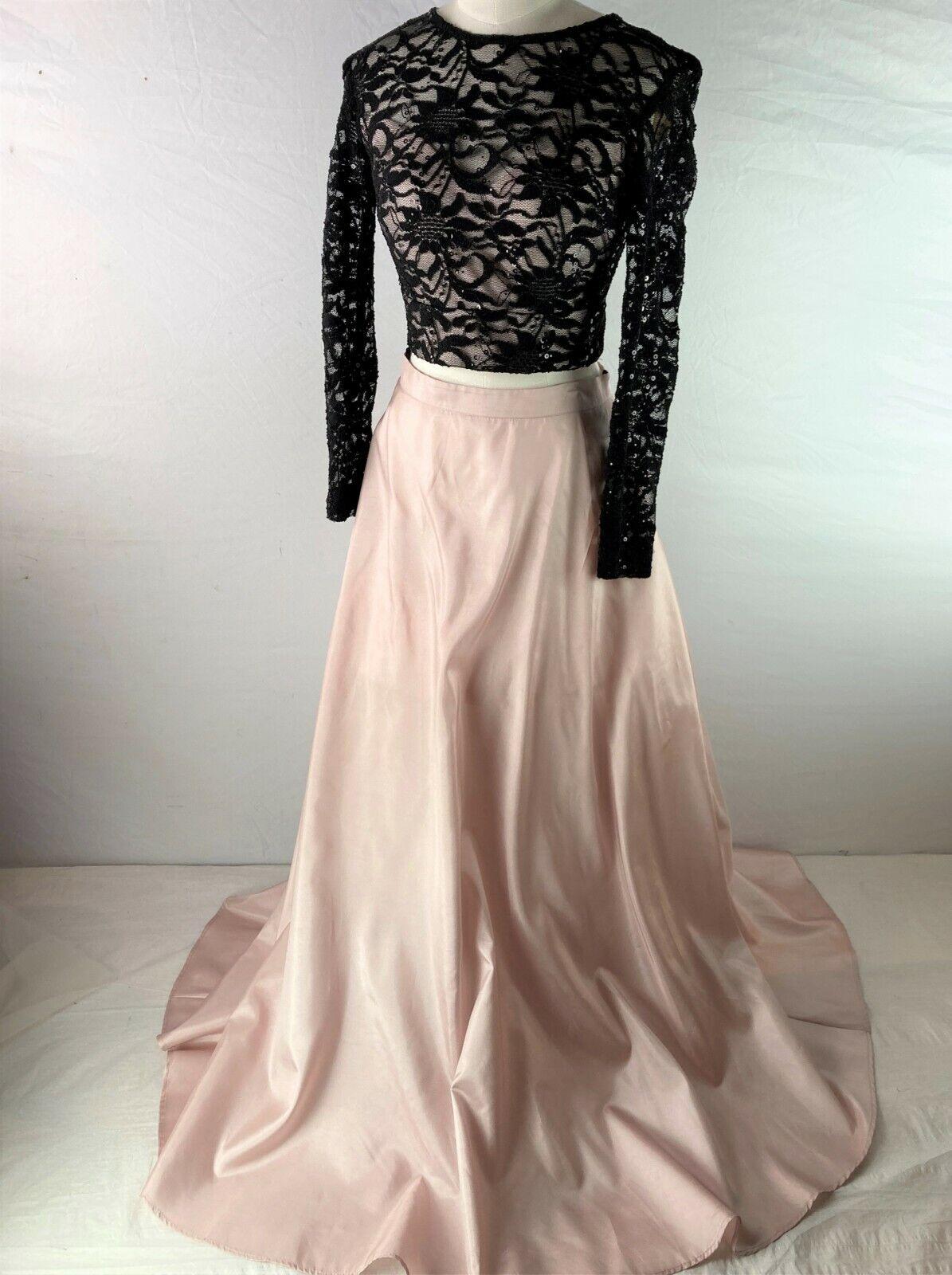 WINDSOR 2-Piece Prom Dress Formal Ballgown, Black Lace, Pink Satin, Women sz 5/6
