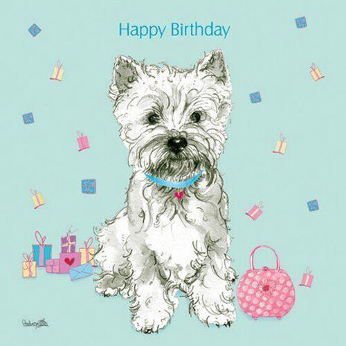 Westie Birthday Card Handbag Presents Pretty Greeting Card
