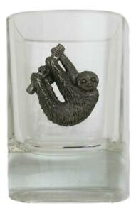 Pewter Otter on Crystal Shot Tot Glass Cup Ideal  Gift