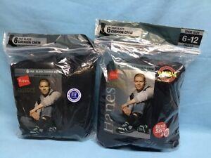 Hanes Classics Black Cushion Crew Men's Socks Shoe Size 6-12 ~ 2 Packs NWT