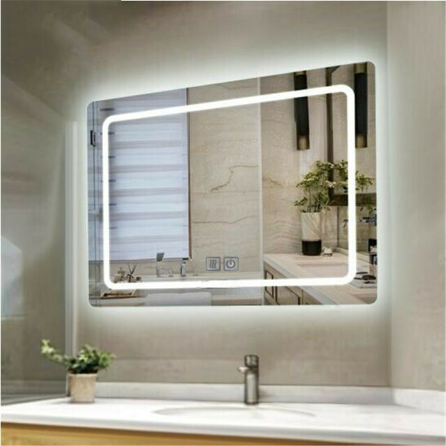 Bathroom Mirror Anti Fog Switch Wall Makeup Mirrors With Led Light Over Vanity