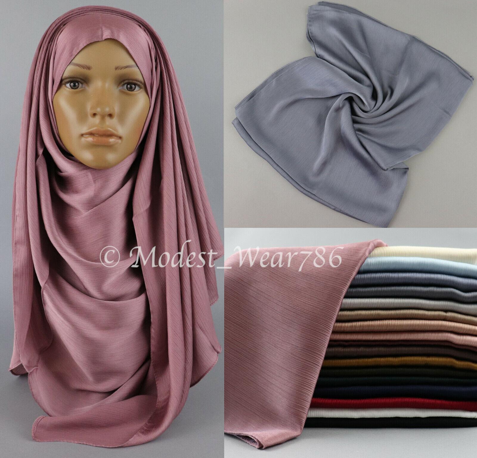 Premium Quality Crinkle Sheen Satin Hijab Scarf Muslim Headcover 180x75 cm