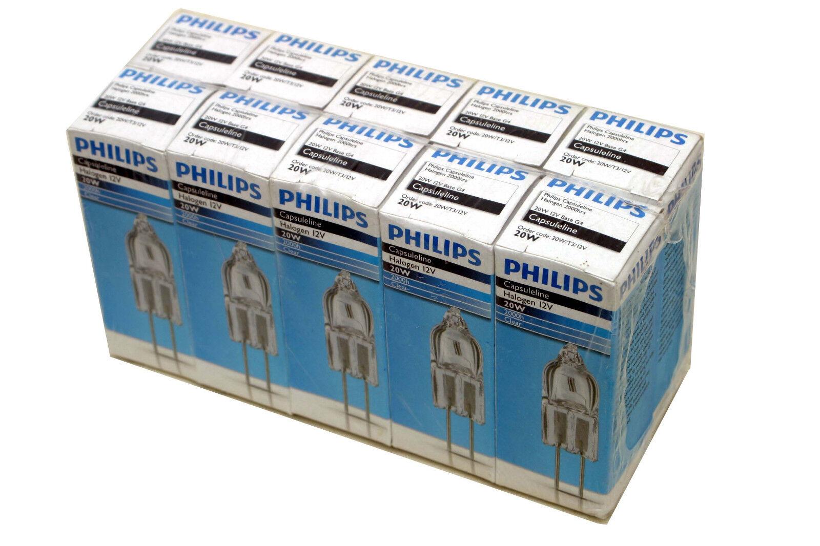 Phillips Capsuleline 20W 12V Base G4 Halogen Light Bulbs Lot of 10 Bulbs