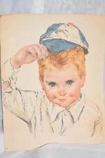 VINTAGE PRINT OF A LITTLE BLUE EYED BLONDE BOY IN BASEBALL CAP 11x14