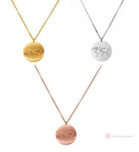 Halskette-Damen-Halsketten-Globus-Weltkarte-Welt-Gold-Silber-Rosegold-Edelstahl