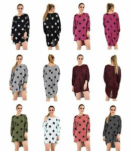 Womens-Ladies-Star-Print-Long-Sleeves-Tunic-Top-Summer-Dress-Casual-Plus-Size