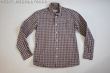 MAISON KITSUNE Men's Red Plaid Checkered L/S Button Down SPORT SHIRT 40 Small