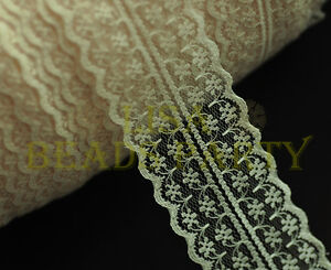 10yards-45mm-Fabric-Embroidered-Lace-Bilateral-Trim-Ribbon-Crafts-Sewing-Apricot
