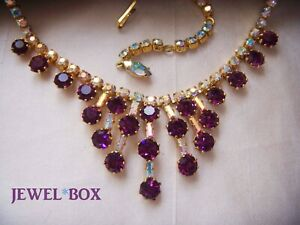 VINTAGE-AMETHYST-CRYSTAL-AURORA-BOREALIS-RHINESTONE-NECKLACE-CROWN-SETTINGS
