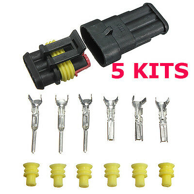 5 Kits 3 Pin Set  Way Sealed Waterproof Electrical Wire Auto Connector Plug