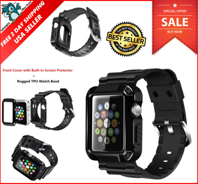 online retailer e3d5f f9203 Protective Rugged Case Screen Protector Band Strap for 38mm Apple iWatch  Black