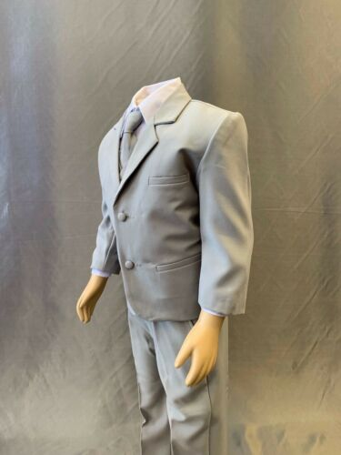 Toddler Teen Boy GRAY Elegant Wedding Birthday Sweet 16 Tuxedo Suit 5-Piece Set