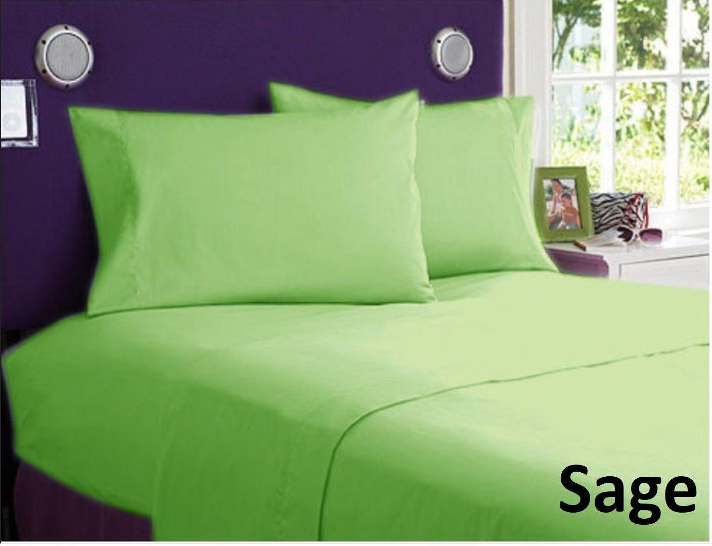 1000 TC Decent Bedding Items Egyptian Cotton US Sizes Sage Solid