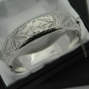 1974-Vintage-925-Silver-1-2-Engraved-Floral-Design-Hinged-Bangle-Bracelet