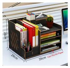 Desk Organizer Desktop Storage Rack Pen Box Office File Holder Container Black
