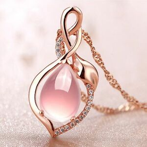 Party-Gift-Chain-Rose-Gold-Plated-Necklace-Jewelry-Pink-Opal-Stone-Pendant