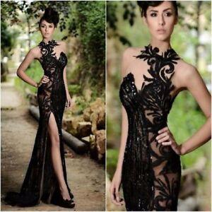 Schwarz-Mermaid-Spitze-Brautkleid-Hochzeitskleid-Abendkleid-Gr-36-38-40-42-44-46