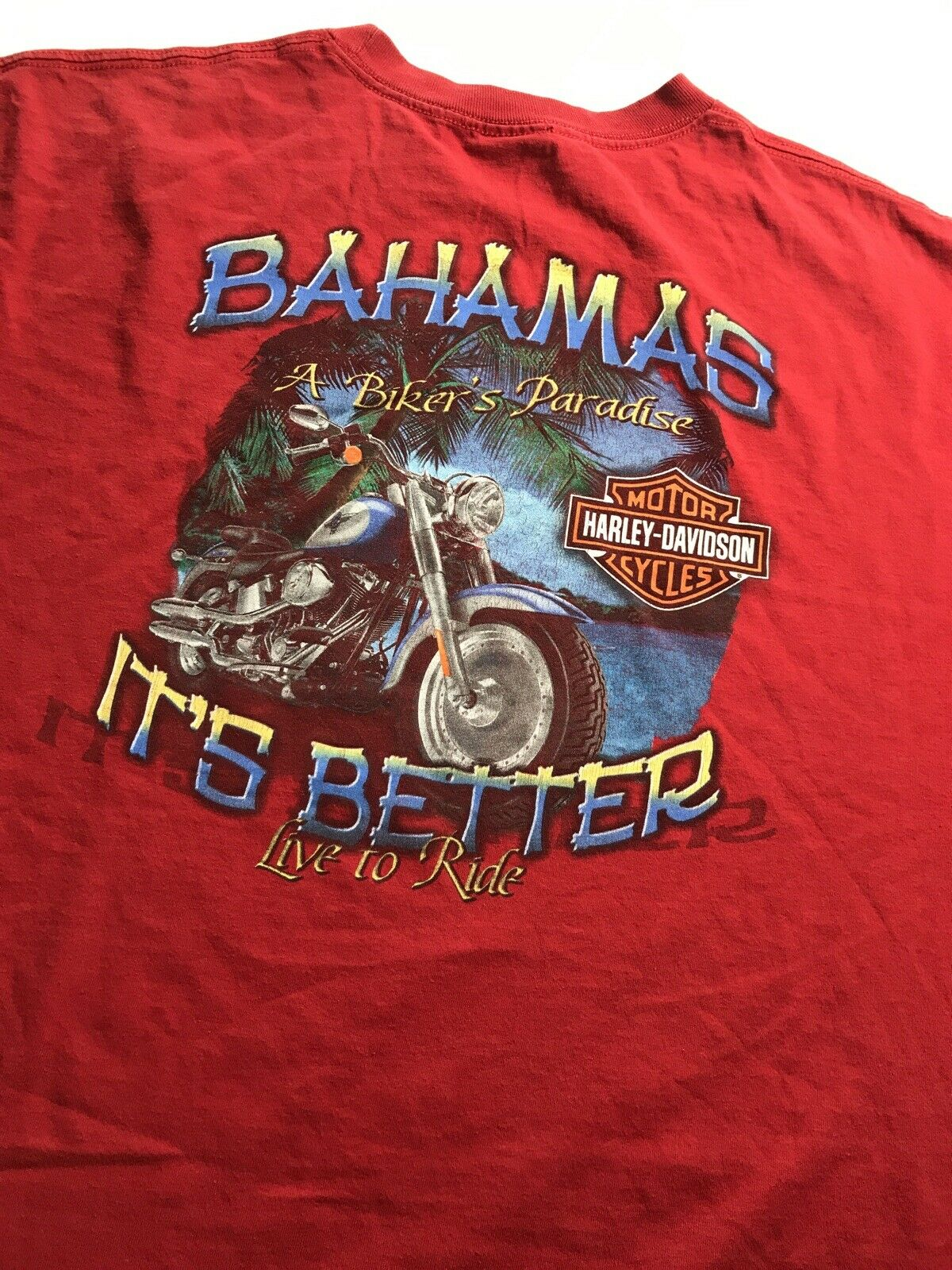 3XL Harley Davidson Live To Ride Rare & Unique Graphic Designed Styled Shirt Top