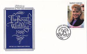 (21360) St Lucia Fdc Prince Andrew Fergie Mariage Royal 12 Août 1986-afficher Le Titre D'origine