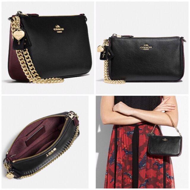 3d45c593e59b3d NWT $150 COACH 24110 Selena Gomez Wristlet 19 In Colorblock Leather BLACK  CHERRY