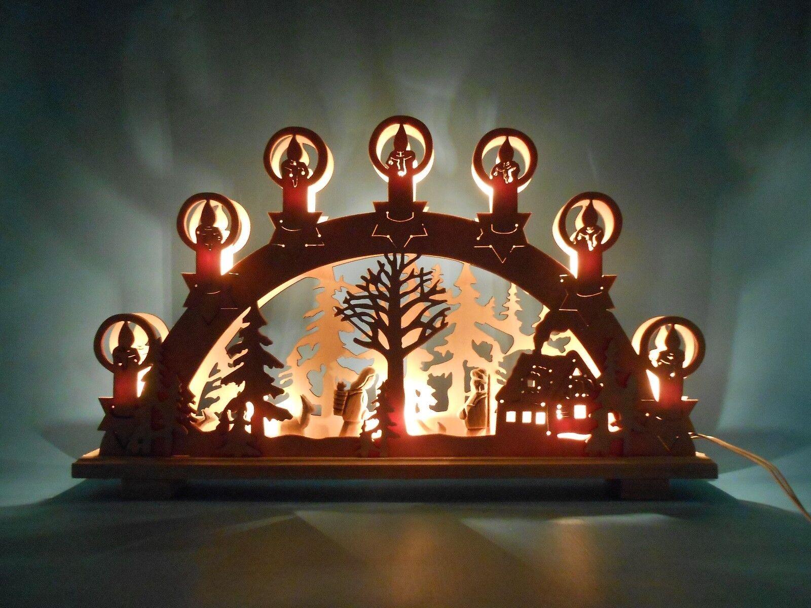 3D Schwibbogen Lichterbogen Stimmungsleuchter mit geschnitzten Figuren natur NEU