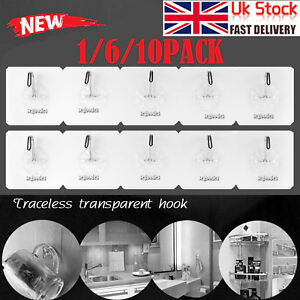 Anti-skid-Hooks-Wall-Door-Scrub-Strong-Sticky-Traceless-Transparent-Hook-UK-SHIP