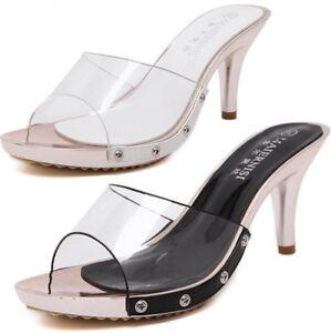 Womens-High-Heel-Clear-Mules-Slides-Shoes-Slip-On-Open-Peep-Toe-Sandals-Shoes