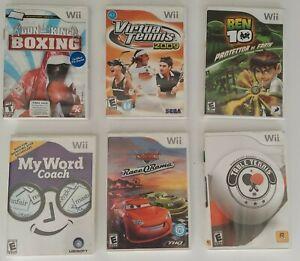 Mixed Lot of 6 Nintendo Wii Video Games Boxing Tennis Disney Pixar 100% Complete