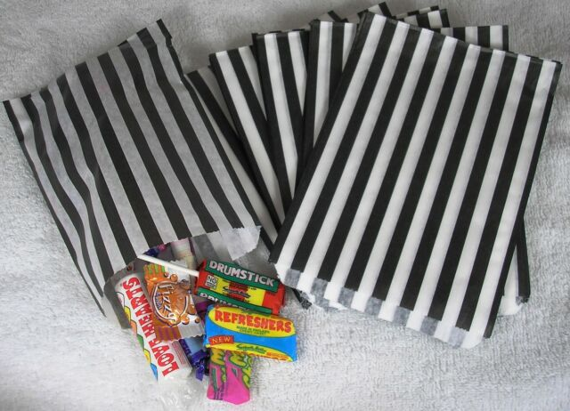 50 Black & White Stripe Paper Sweet Bags Any Occasion Pick 'n' Mix Bags