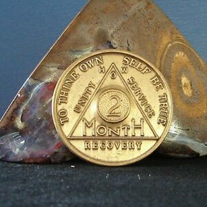 Alcoholics Anonymous Vintage 2 Month AA BACK Medallion HOW Front Coin Token