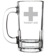 12oz Beer Mug Stein Glass Funny Thirst Aid