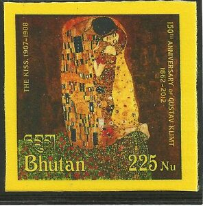 "GUSTAV KLIMT""THE KISS""2012 BHUTAN 225-nu SILK STAMP MNH RRR++"