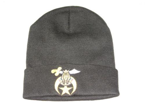 Shrine Stocking Hat Knit Cap Black Embroidered Warm Winter Masonic NEW!