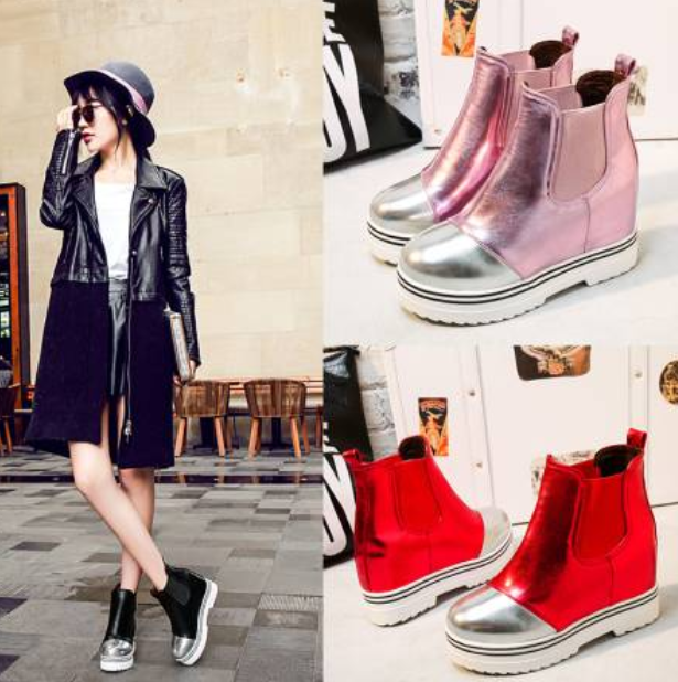 Womens Ankle Boots Increase High Heels Wedge Platform Pull On Mixed colors D322