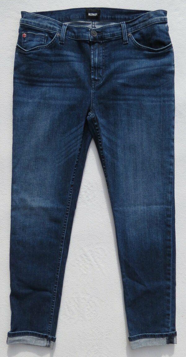 HUDSON Dark bluee Moonshine Stretch Denim Tally Crop Skinny Jeans size 31 12