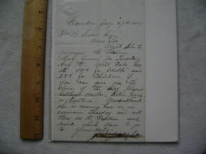 1877 Camden, NJ Letter Requesting Use of the Steamer May Queen for an excursion.