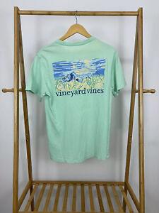 Vineyard-Vines-Men-039-s-Fish-Graphic-Sealife-Pocket-Front-Teal-T-Shirt-Size-XS