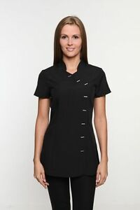 Black tunic spa beauty hair piping tunic various colours for Spa uniform tunic