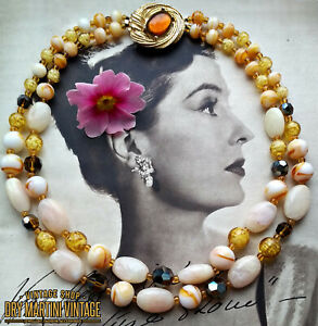 VINTAGE-1950s-VENETIAN-SOMMERSO-ART-GLASS-BEADS-DOUBLE-STRAND-NECKLACE-OCCASION