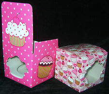NEW 6 PINK CUPCAKE BOXES SINGLE CAKE GIFT BOX 2 CUTE DESIGNS RSW 7769